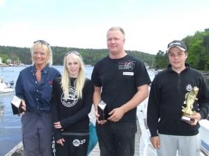 T. Handeland, Trondheim HK (Damer), K. Ekenes, Fredrikshald HK (Junior), J. Nybakke, Båstad HK (Herrer) og H. Valle, Fredrikshald HK (Størst fisk)